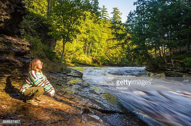 presque isle river - parque estatal de porcupine mountains wilderness fotografías e imágenes de stock