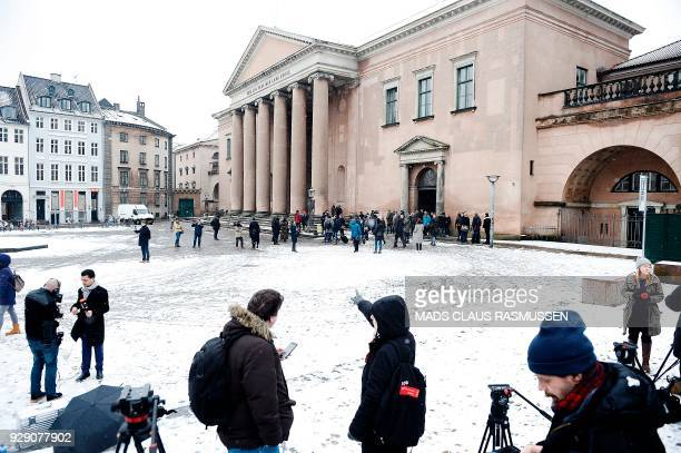 Press and hearers line up in front of the courthouse in Copenhagen on March 8 2018 at the opening of the trial for Danish inventor Peter Madsen...