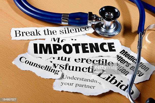 press announcements on impotence issues plus stethoscope - erection stock photos and pictures