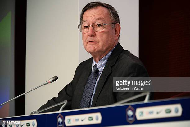 Press assistant Philippe Tournon during Didier Deschamps's press conference to announce the names of the players selected for the friendly football...