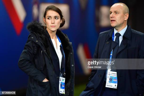 Press attache for the France women team Laura Goutry and former press attache for the France women team Stephane Lanoue during the international...