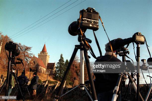 Press cameras train in on Crathie Church, nr Balmoral, to get a glimpse of the Royal wedding party attending the marriage of the Princess Royal to...