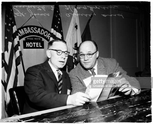 Press conference 9 April 1958 James W Armsey Kenneth W Haagensen Caption slip reads 'Photographer Monteverde Date Reporter Massard Assignment PR...
