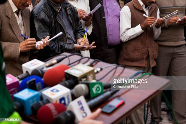 A press conference at Gaddafi Stadium Lahore Pakistan during the runup to the 2011 ICC World Cup Cricket tournament 10th December 2010 The stadium is...