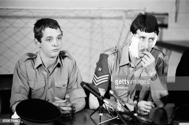 Press Conference at Knightsbridge Barracks Trooper Steven Sullivan who was only slightly hurt Corporal James Pitt with Bandages on his face after the...
