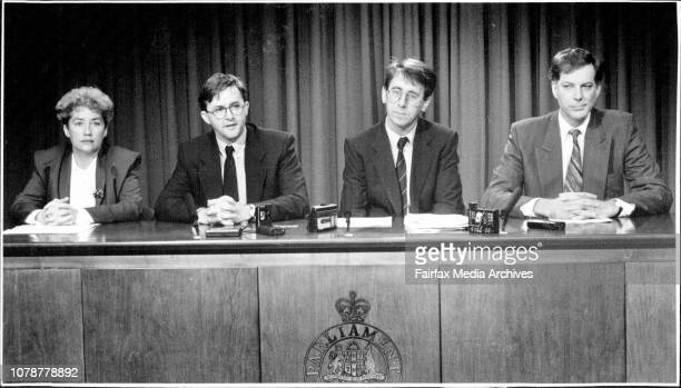ALP Press Conference at State Parliament Left to right Pam Allan Anthony Albanese Andrew Ferguson Andrew Refshauge July 10 1995