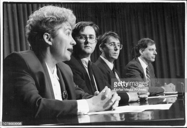 ALP Press Conference AT State ParliamentLeft to Right Pam Allan Anthony Albanese Andrew Ferguson March 25 1994