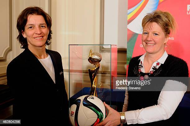 Press conference at the French national football team training base in Clairefontaine of Tatjana Haenni head of women's competitions for FIFA and...