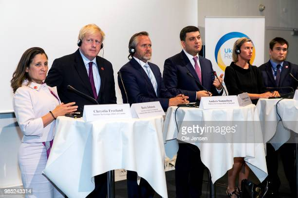 Press conference at the Ukraine Reform Conference on June 27 2018 in Copenhagen Denmark Foreign Ministers from L R Chrystia Freeland of Canada Boris...
