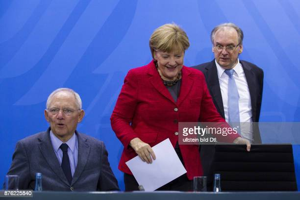 Press conference by German Chancellor Angela Merkel Federal Minister of Finance Wolfgang Schäuble Minister President of MecklenburgVorpommern and...