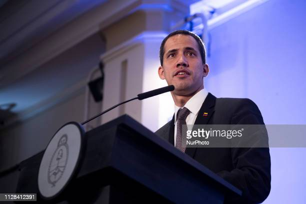 Press conference by Juan Guaido selfproclaimed president of Venezuela at the Palacio San Martín as part of his visit to Argentina after traveling to...