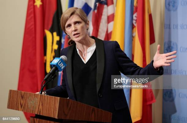 Press Conference by US ambassador to the UN Samantha Power on the crimes against humanity happening in Aleppo Syria at the UN Headquarters in New...
