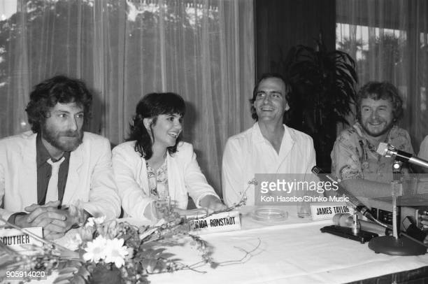 Press conference for The California Live tour at a hotel September 9 Tokyo Japan James Taylor Linda Ronstadt JD Souther
