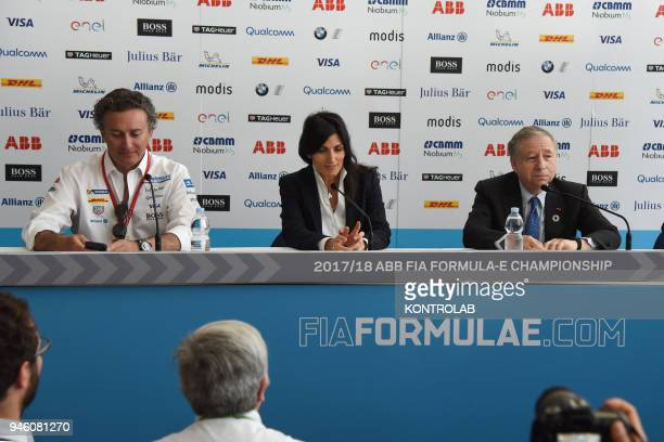 Press conference for the presentation of the EPrix of Rome Formula E car race with electric cars from left Alejandro Agag chief executive of Formula...