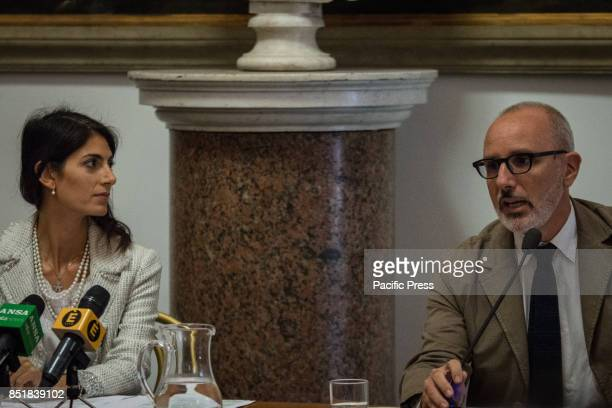 Press conference for the presentation of the mayor of Rome Virginia Raggi with the Councillor for urban planning Luca Montuori of the project of...