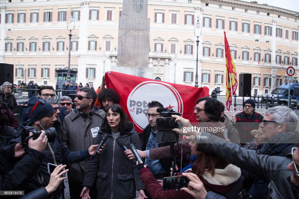 MONTECITORIO, ROMA, RM, ITALY - : Press conference in front of the Italian Parliament of Viola Carofalo with some politicians of the movement 'Potere al Popolo'.