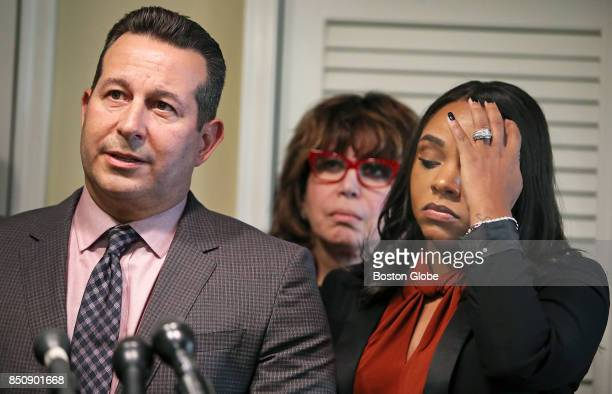 A press conference is held at the law office of Attorney Jose Baez left to announce that a lawsuit will be filed against the National Football League...