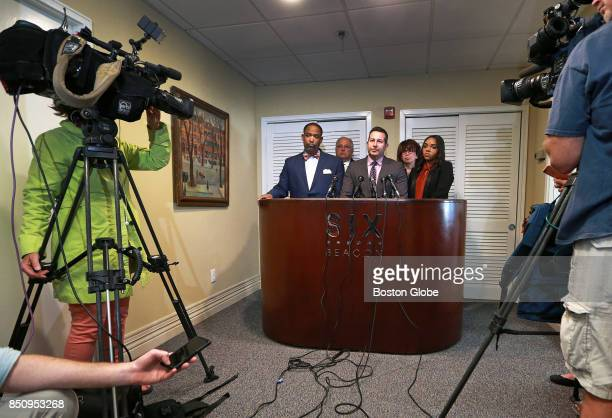 A press conference is held at the law office of Attorney Jose Baez to announce that a lawsuit will be filed against the National Football League and...