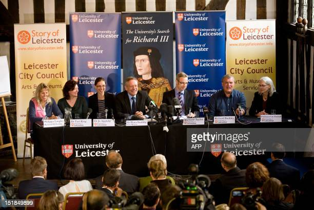 A press conference is held at the University of Leicester in central England on September 12 to announce the possible discovery of the skeleton of...