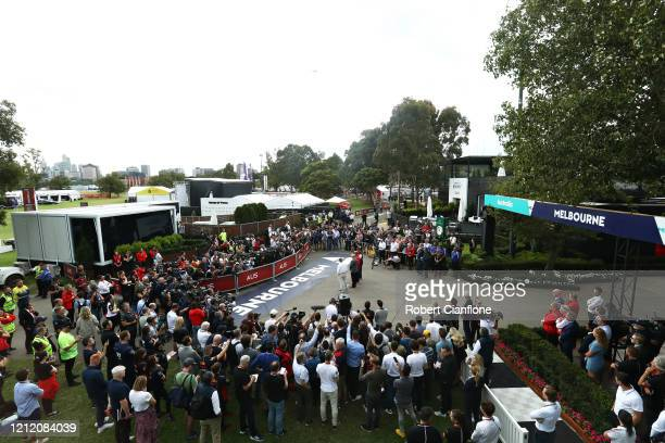 Press conference is held outside the paddock after for the F1 Grand Prix of Australia was cancelled at Melbourne Grand Prix Circuit on March 13, 2020...