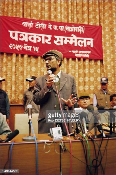 Press conference Kathmandu The enigmatic leader Dr Babu Ram Bhattarai seen for the first time in seven years in Kathmandu Banderole Dialogue team...