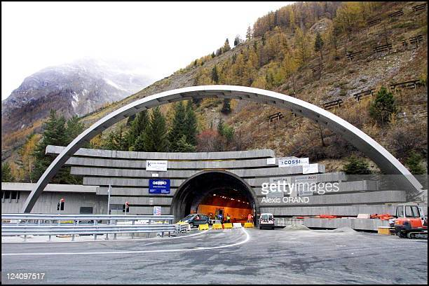Press conference of Bernard Levy new president of ATMB before reopening of Mont Blanc tunnel on December 15 2001 in Courmayeur Italy on November 15...