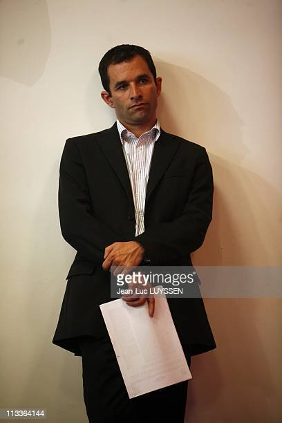 Press Conference Of Francois Hollande About The Renovation Forums In Paris France On September 19 2007 Benoit Hamon