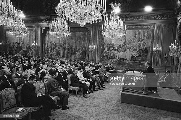 Press Conference Of Georges Pompidou France Paris 10 juillet 1969 Au Palais de l'Elysée le nouveau président de la république française Georges...