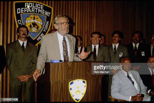 Press conference of Harvey J Weinstein Lord West Formal Wear CEO Mayor of New York City David Dinkins and Commissioner of the New York City Police...
