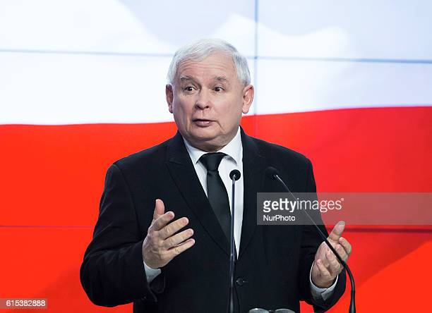 Press conference of Jaroslaw Kaczynski the President of the ruling party of law and justice in Warsaw 18 October Warsaw Poland