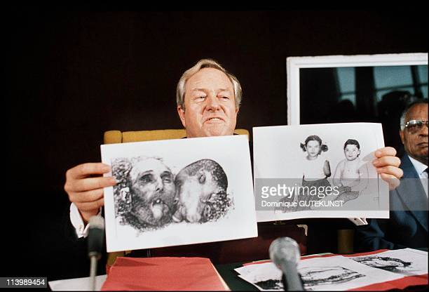 Press conference of JeanMarie Le Pen and Gustave Pordea In Strasbourg France In February 1985