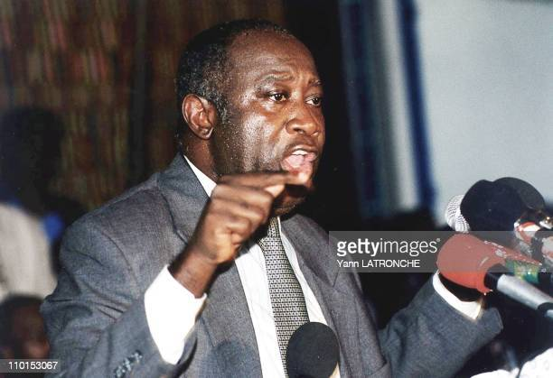 Press Conference of Laurent Gbagbo President of Popular Front of Côte D'Ivoire in Côte D'Ivoire on December 30 1999