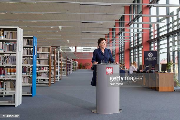 Press conference of Polish Prime Minister Ewa Kopacz on October 06, 2015 in Bydgoszcz, Poland.
