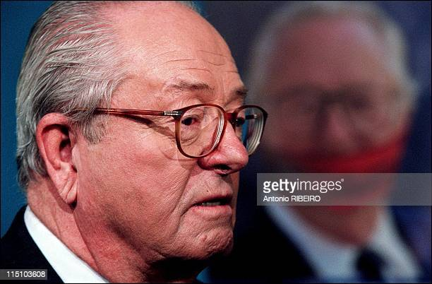 Press conference of presidential candidate Jean-Marie Le Pen in Saint Cloud, France on March 22, 2002.