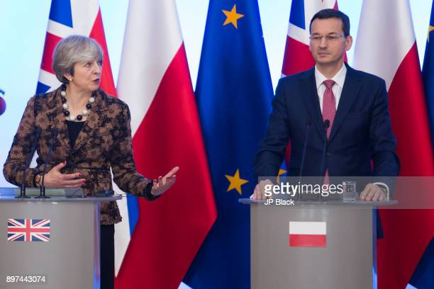 Press conference of Prime Minister of the United Kingdom Theresa May and the Prime Minister of Poland Mateusz Morawiecki after PolishBritish...