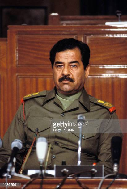 Press conference of Saddam Hussein In Baghdad Iraq On October 14 1983