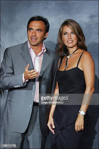 Press Conference Of Tf1 French Tv Channel On August 27 2003 In Paris France Nikos Aliagas And Natacha Amal