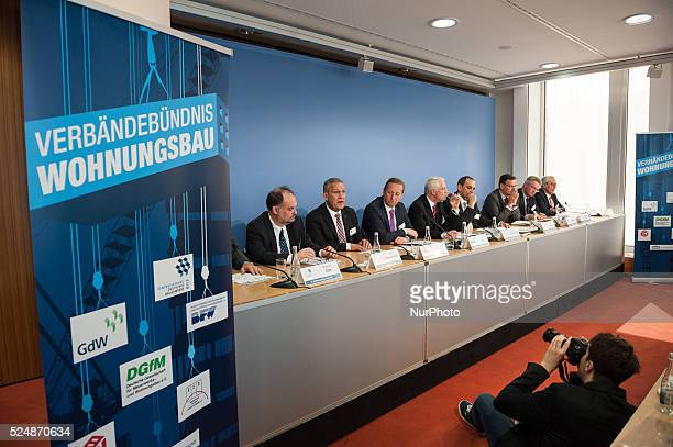 Press conference of the Alliance Housing Associations on in Berlin Germany The Alliance loads to the press conference for the 7th housing tag...