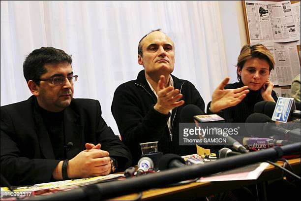 """Press conference of the french weekly satiric newspaper """" Charlie Hebdo """", before its process, for having published danish caricatures of Mahomet..."""