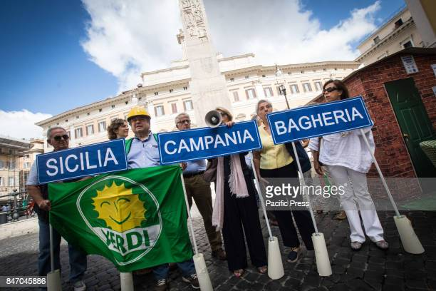 Press conference of the Greens in front of Piazza Montecitorio to present a dossier on the hydrogeological instability against Abusiveism