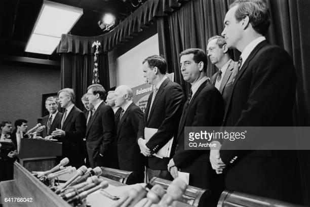 """Press conference on budget cuts features Sen. Joseph Robert """"Bob"""" Kerrey, D-Nebr., Senate Member leading . Sen Kerrey speaks as his colluges Rep...."""