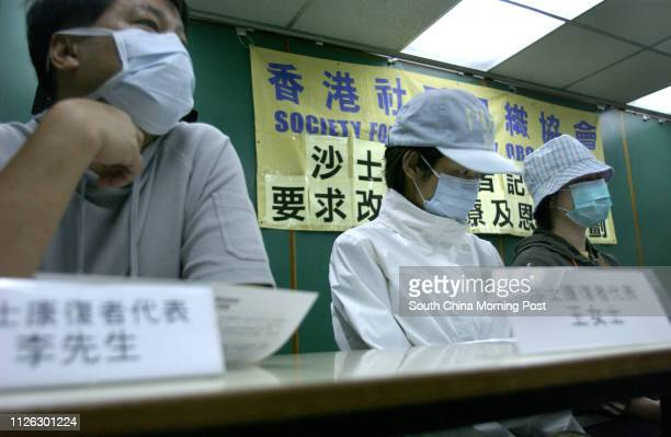 Press conference on recovered SARS patients suffering from bone disease. PTU HK office, Causeway Bay. Pictured are recovered patients Mr. Leung,...