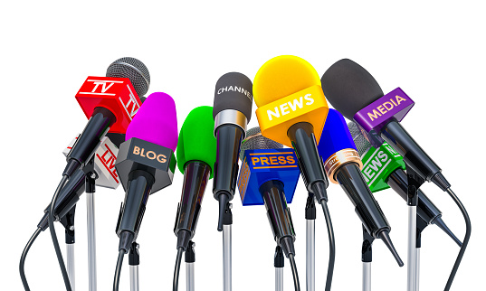 Press conference or interview concept. Microphones of different mass media, 3D rendering isolated on white background 978562142