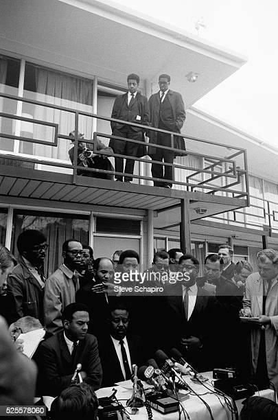 Press conference outside Lorraine Hotel where Dr Martin Luther King Jr was assassinated