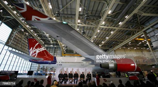 A press conference take place in the hanger of a Virgin Atlantic Boeing 747 before it embarks on the first test flight using biofuel made from...