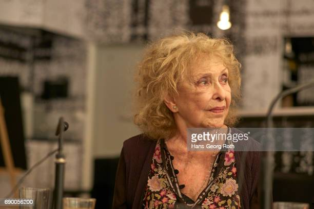 Press conference with Carolee Schneemann artist seen during the 'Carolee Schneemann Kinetische Malerei' exhibition preview at Museum fuer Moderne...