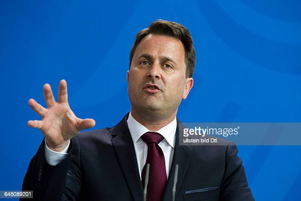Press conference with German Chancellor Angela_Merkel and Luxembourg Prime Minister Xavier Bettel on June 16 2015 in Berlin The Grand Duchy of...