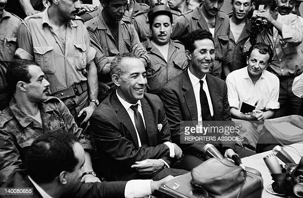 Press conference with leaders of Algeria's National Liberation Front Saadi Yacef Mohamed Khider and Ahmed Ben Bella September 5 1962 in Algiers...