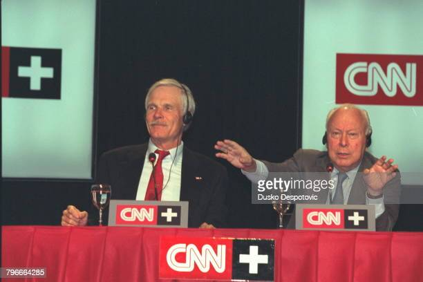 Press conference with Ted Turner owner of CNN and Jesus de Polanco president of SOGECABLE