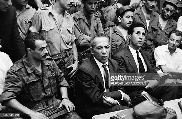 Press conference with Yacef Saadi Mohamed Khider and Ahmed Ben Bella on September 5 1962 in Algiers Algeria